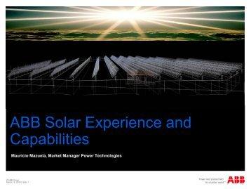 ABB Solar Experience and Capabilities