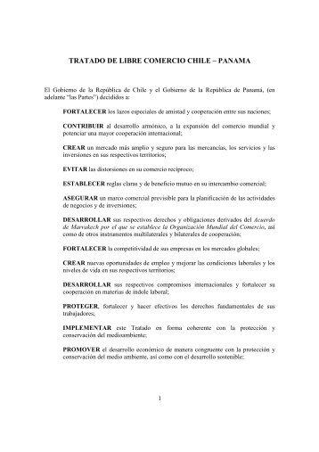 TRATADO DE LIBRE COMERCIO CHILE – PANAMA - WITS