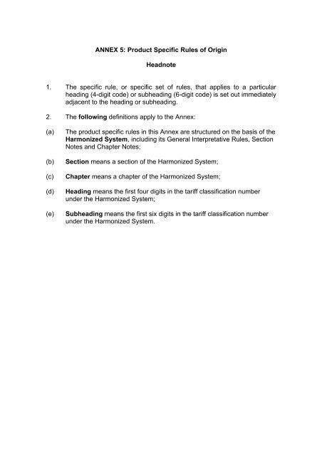 ANNEX 5 Product Specific Rules Of Origin Headnote 1 The