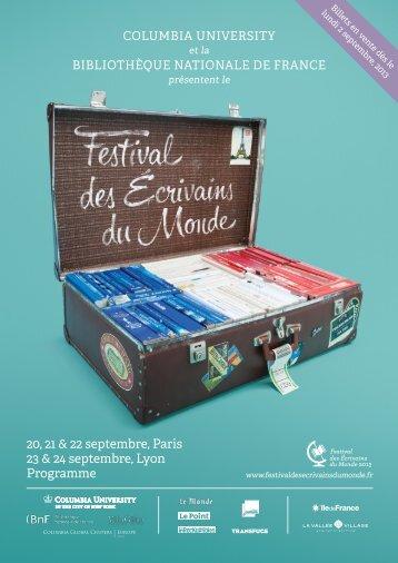 20, 21 & 22 septembre, Paris 23 & 24 septembre, Lyon Programme