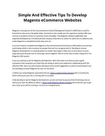 Simple And Effective Tips To Develop Magento eCommerce Websites