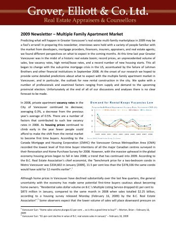 2009 Newsletter – Multiple Family Apartment Market - Grover, Elliott ...