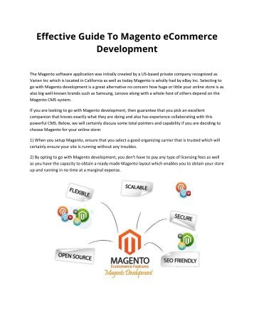 Effective Guide To Magento eCommerce Development