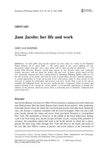 Jane Jacobs: her life and work - History of Social Work