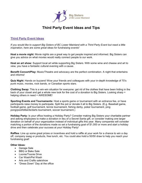 Third Party Event Ideas and Tips - Big Sisters of BC Lower