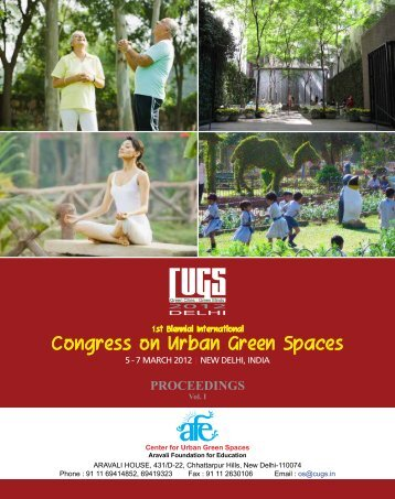 Proceeding Volume I - Center for Urban Green Spaces