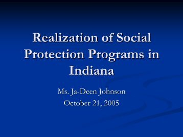 Realization of Social Protection Programs in Indiana