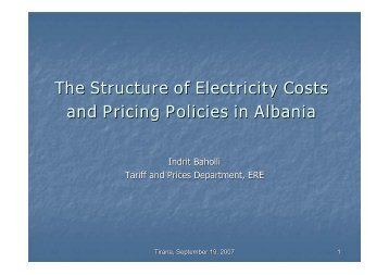 The Structure of Electricity Costs and Pricing Policies in Albania
