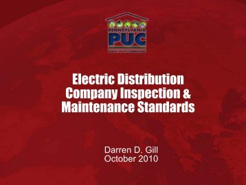 Electric Distribution Company Inspection & Maintenance Standards