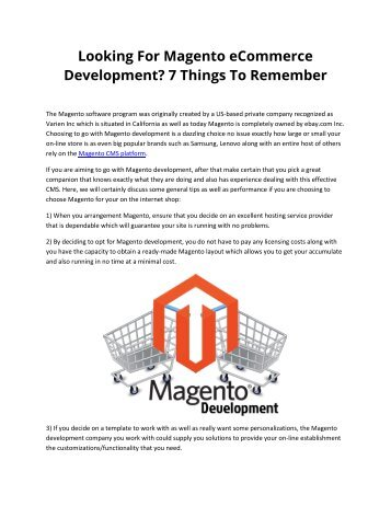 Looking For Magento eCommerce Development? 7 Things To Remember