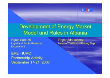 Developments in the Albanian Electricity Market Model