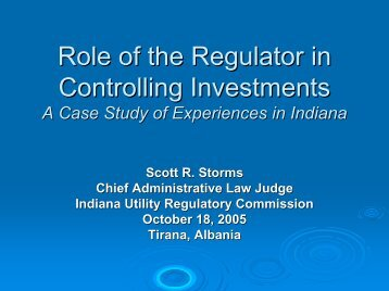 Regulator and Investments: Indiana Experience - Narucpartnerships ...