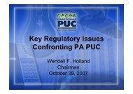 Key regulatory issues for PA PUC - Narucpartnerships.org