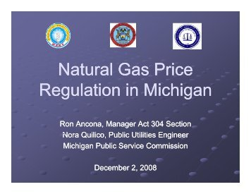 Natural Gas Price Regulation in Michigan - Narucpartnerships.org