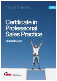 Certificate in Professional Sales Practice - CIM Academy
