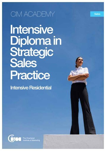 Intensive Diploma in Strategic Sales Practice - CIM Academy