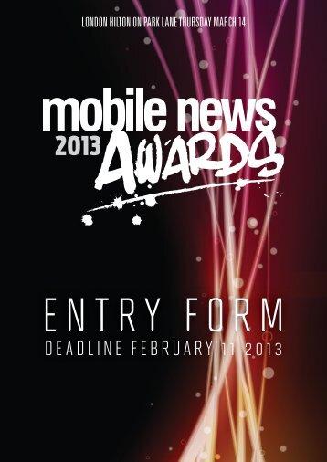 PDF entry form - Mobile News Awards 2013