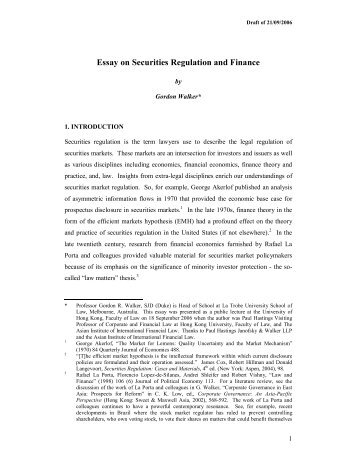 Essay on Securities Regulation and Finance - Faculty of Law, The ...
