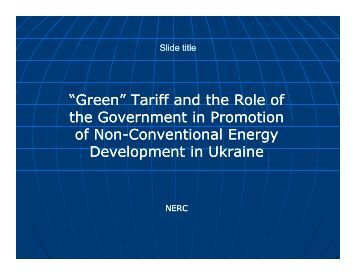 """Green"" Tariff and the Role of the Government in Promotion of Non ..."