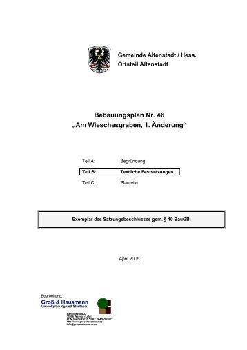 """Bebauungsplan Nr. 46 """"Am Wieschesgraben, 1. Änderung"""""""