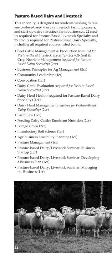 Pasture-Based Dairy and Livestock Specialty