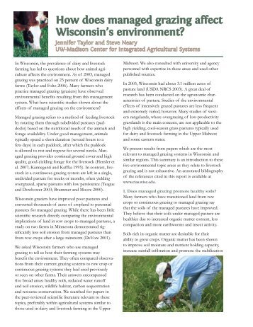 How does managed grazing affect Wisconsin's environment?