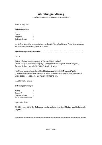 vorlage abtretungserklrung einkommensschutzbrieforg - Abtretungserklarung Muster
