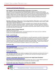 Food education resources - Center for Integrated Agricultural Systems