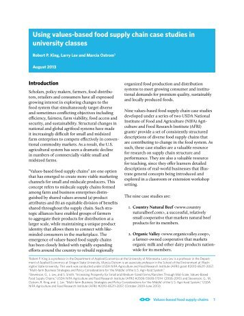 Using values-based food supply chain case studies in university ...