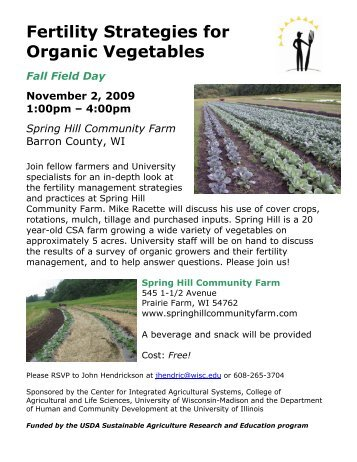 field-day-flyer-spri.. - Center for Integrated Agricultural Systems