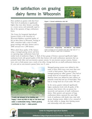 Life Satisfaction on Grazing Dairy Farms in Wisconsin - Center for ...