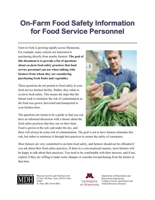 Tool: On-farm food safety information for food service personnel
