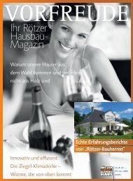 Hausbau-Magazin VORFREUDE - Rötzer-Ziegel-Element-Haus