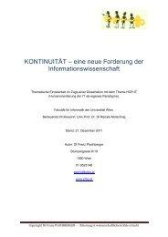 KONTINUITÄT – eine neue Forderung der Informationswissenschaft