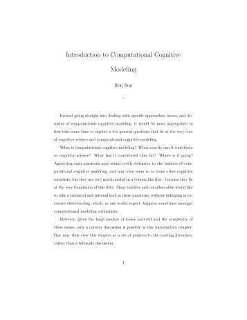 Introduction to Computational Cognitive Modeling
