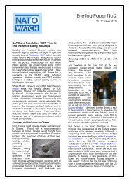 Briefing Paper No.2 Nuclear Weapons - Oct 09 - NATO Watch