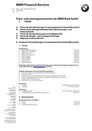 Preis- und Leistungsverzeichnis der BMW Bank GmbH - Mini
