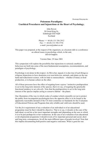 Unethical Procedures and Injunctions at the Heart of Psychology.