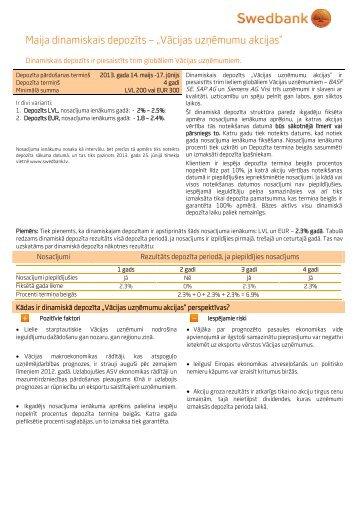 """Maija dinamiskais depozīts – """"Vācijas uzņēmumu akcijas"""" - Swedbank"""