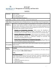 BUSI 4607A – Management of Technology and Innovation