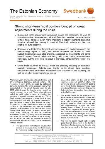 The Estonian Economy, October 2010: Strong short ... - Swedbank