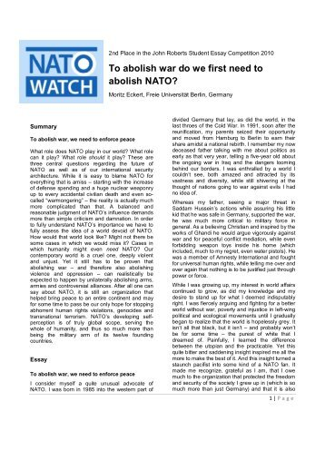 Nato Watch Comment On Nato Nuclear Sharing Read Essay  Nato Watch Thesis Statement Examples For Narrative Essays also Example Of A Essay Paper  Sample Argumentative Essay High School