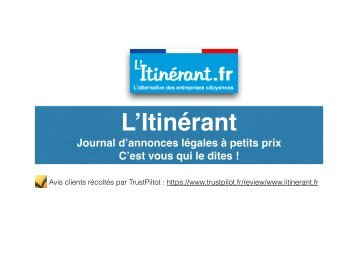 Annonces légales à moindre coût sur L'Itinérant