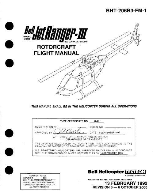 BHT-206B3-FM-1 - JET RANGER III FLIGHT MANUAL - MODEL ... on