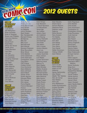 2012 Guests - New York Comic Con