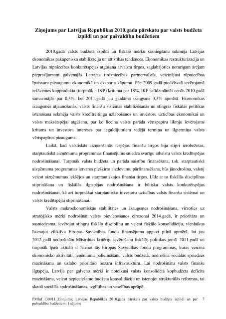 Ziņojums par Latvijas Republikas 2010.gada pārskatu ... - Valsts kase