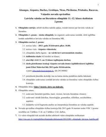 Latviešu valodas olimpiāde 11. - Aizputes Novads