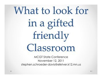 What to Look for in a Gifted-Friendly Classroom - Minnesota Council ...