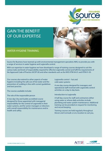 GAIN THE BENEFIT OF OUR EXPERTISE - South West Water