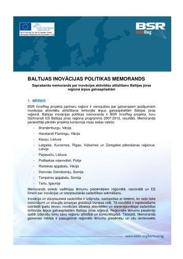 baltijas inovācijas politikas memorands - Valsts reģionālās attīstības ...